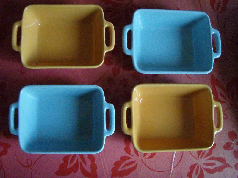 photo 4 petits plats gratin individuels de couleur ble. Black Bedroom Furniture Sets. Home Design Ideas