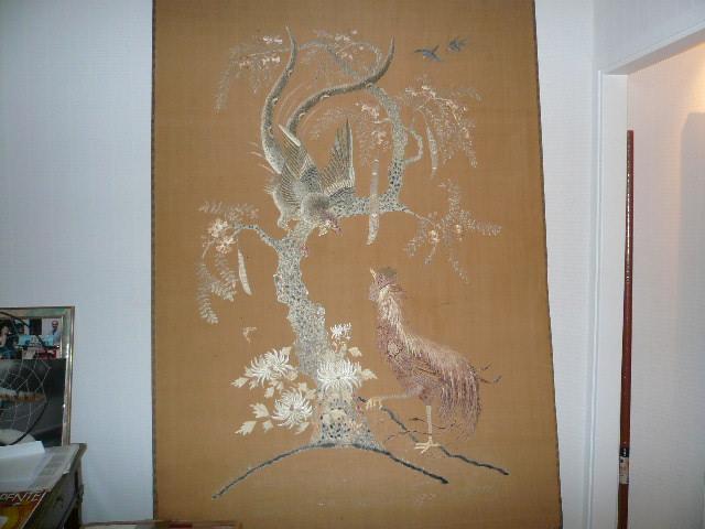 Photo tapisserie japonaise ancienne brod e soi - Tapisserie murale ancienne ...