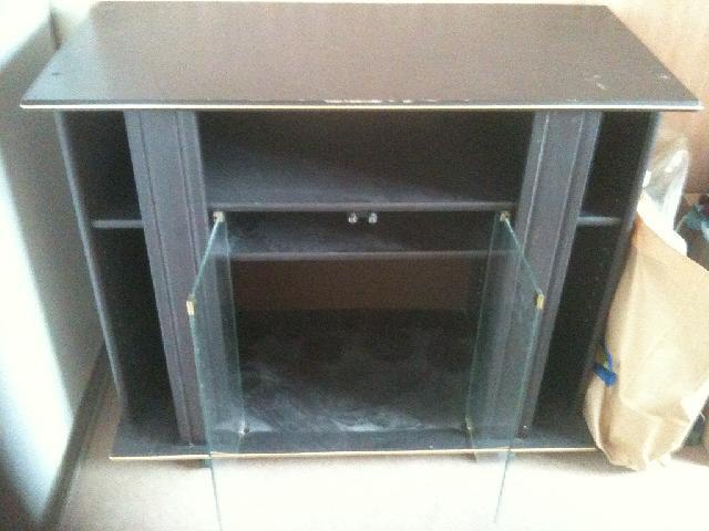 meuble tv dangle vitre avec plateau de rangements ...