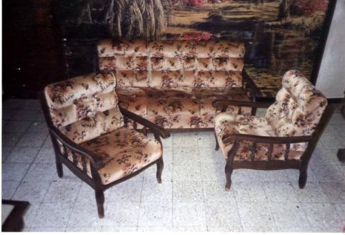 Canape fauteuil donner oyonnax - Salon en bois et tissu ...